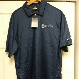 NWT Nike Golf Dri-Fit GE Oil & Gas Polo Blue